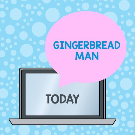 Writing note showing Gingerbread Man. Business concept for cookie made of gingerbread usually in the shape of huanalysis Round Shape Speech Bubble Floating Over Laptop Backdrop