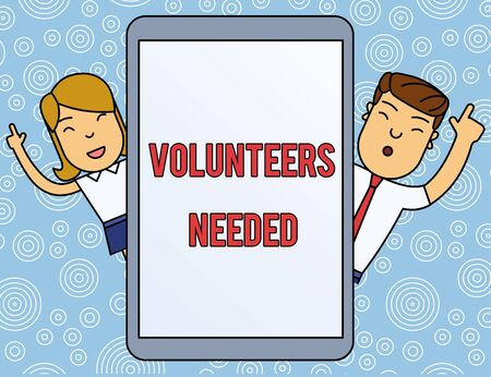 Word writing text Volunteers Needed. Business photo showcasing need work or help for organization without being paid Male and Female Index Fingers Up Touch Screen Tablet Smartphone Device