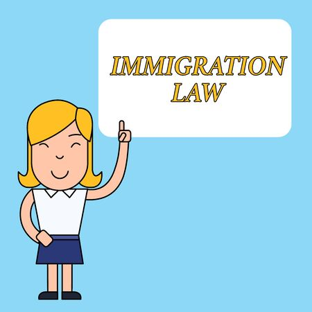 Writing note showing Immigration Law. Business concept for Emigration of a citizen shall be lawful in making of travel Woman Standing with Raised Left Index Finger Pointing at Blank Text Box