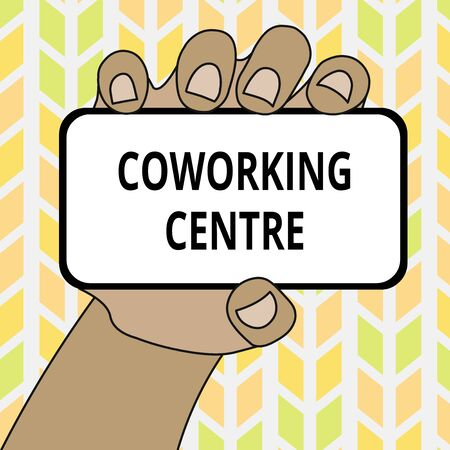 Conceptual hand writing showing Coworking Centre. Concept meaning shared workplace often office and independent activity Closeup of Smartphone in Hand with Screen and Text Space