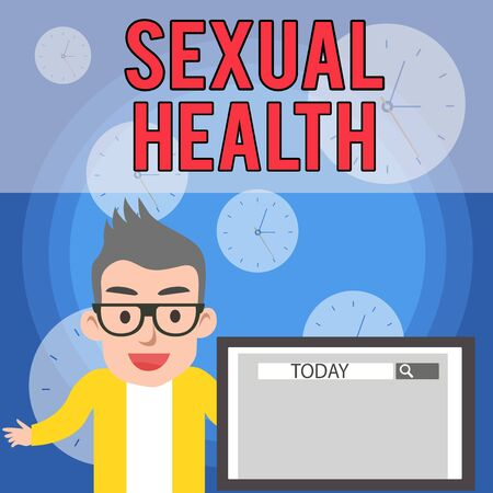 Writing note showing Sexual Health. Business concept for positive and respectful approach to sexual relationships Male Speaker Monitor with Search Tool on Screen Presentation or Report Zdjęcie Seryjne - 125248622