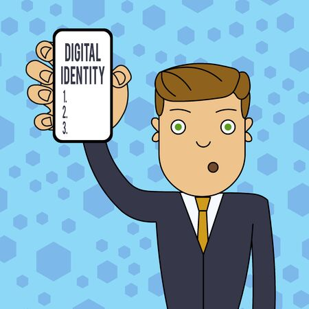 Writing note showing Digital Identity. Business concept for information on entity used by computer to represent agent Man Holding Vertical Smartphone Device Screen for Attention