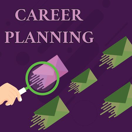 Handwriting text Career Planning. Conceptual photo Strategically plan your career goals and work success Magnifying Glass on One Different Color Envelope and others has Same Shade Zdjęcie Seryjne - 125249133