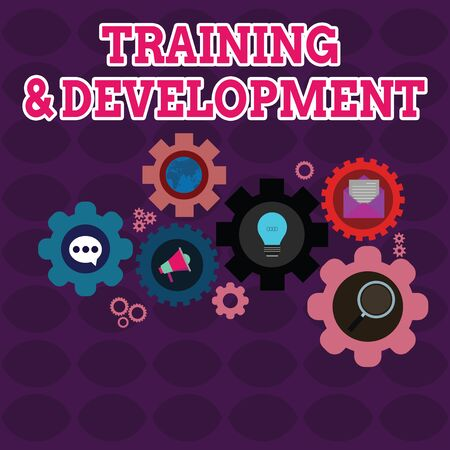 Text sign showing Training And Development. Business photo showcasing learn specific knowledge to improve perforanalysisce Set of Global Online Social Networking Icons Inside Colorful Cog Wheel Gear