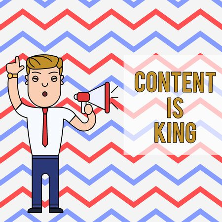 Word writing text Content Is King. Business photo showcasing believe that content is central to the success of a website Man Standing with Raised Right Index Finger and Speaking into Megaphone Фото со стока