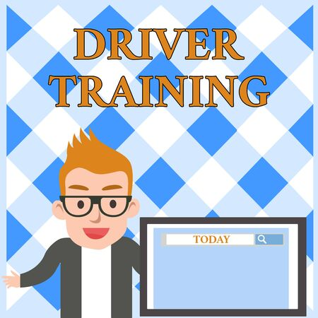 Conceptual hand writing showing Driver Training. Concept meaning prepares a new driver to obtain a driver s is license Male Speaker Screen with Search Tool on Screen Presentation