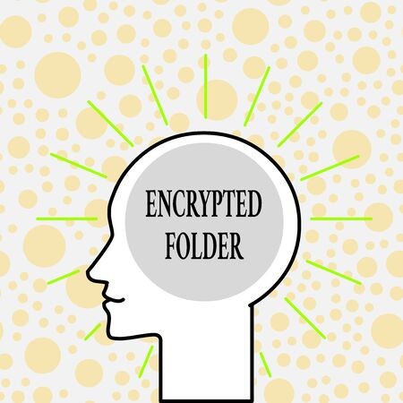 Writing note showing Encrypted Folder. Business concept for protect confidential data from attackers with access Outline Silhouette Human Head Surrounded by Light Rays Blank Text Space