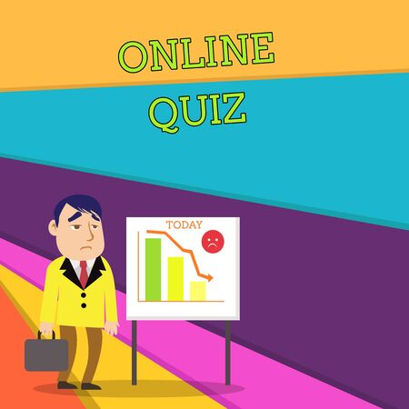 Handwriting text Online Quiz. Conceptual photo game or a mind sport that are published on the Internet Businessman Clerk with Brief Case Standing Whiteboard Declining Bar Chart Zdjęcie Seryjne - 125249059