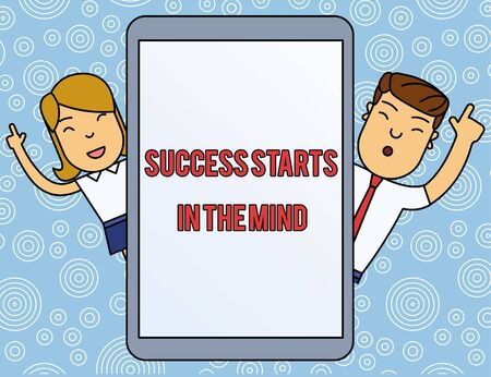 Word writing text Success Starts In The Mind. Business photo showcasing set your mind to positivity it can go a long way Male and Female Index Fingers Up Touch Screen Tablet Smartphone Device Zdjęcie Seryjne - 125249065