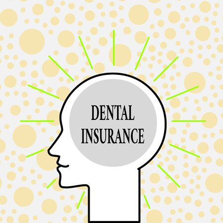 Writing note showing Dental Insurance. Business concept for form of health designed to pay portion or full of costs Outline Silhouette Human Head Surrounded by Light Rays Blank Text Space Foto de archivo