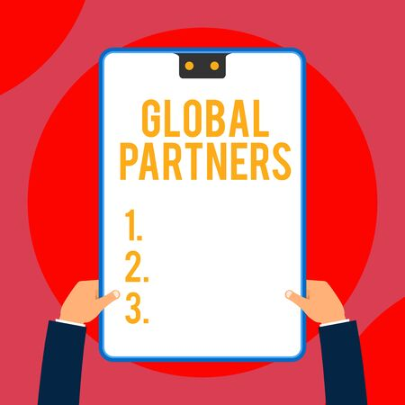 Text sign showing Global Partners. Business photo text Two or more firms from different countries work as a team Two executive male hands holding electronic device geometrical background