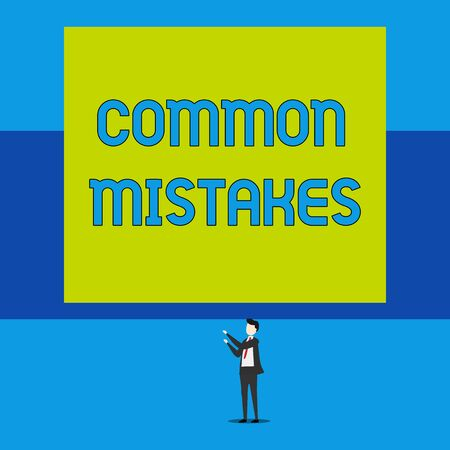 Word writing text Common Mistakes. Business photo showcasing actions that are often used interchangeably with error Isolated view young man standing pointing upwards two hands big rectangle Zdjęcie Seryjne - 125249159