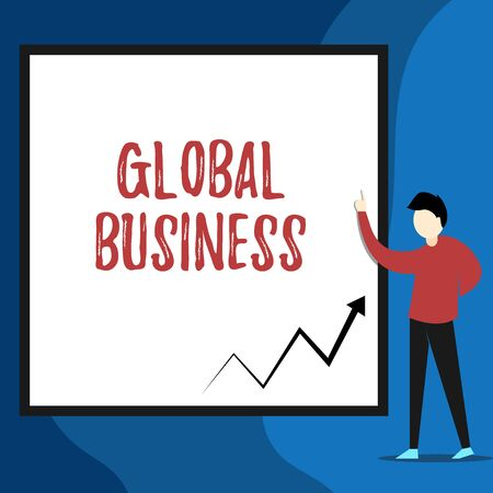 Word writing text Global Business. Business photo showcasing Trade and business system a company doing across the world View young man standing pointing up blank rectangle Geometric background