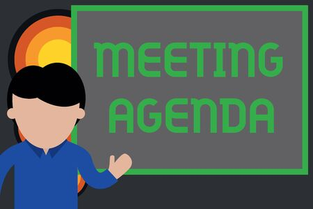 Text sign showing Meeting Agenda. Business photo showcasing items that participants hope to accomplish at a meeting Young man standing in front whiteboard pointing to project. photo Art