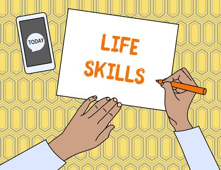 Text sign showing Life Skills. Business photo showcasing skill that is necessary for full participation in everyday life Top View Man Writing Blank Paper Pen Pencil Marker Smartphone Message Icon Zdjęcie Seryjne - 125249193