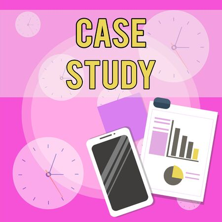Conceptual hand writing showing Case Study. Concept meaning analysis and a specific research design for examining a problem Layout Smartphone Sticky Notes with Pie Chart and Bar Graph