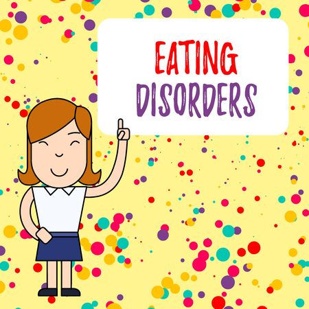 Handwriting text writing Eating Disorders. Conceptual photo any of a range of psychological abnormal food habits Woman Standing with Raised Left Index Finger Pointing at Blank Text Box