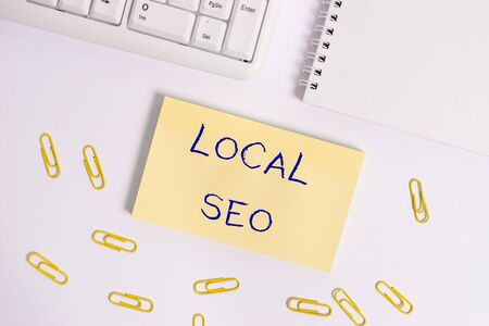 Conceptual hand writing showing Local Seo. Concept meaning helps businesses promote products and services to local customers