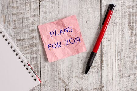 Writing note showing Plans For 2019. Business concept for an intention or decision about what one is going to do Wrinkle paper notebook and stationary placed on wooden background