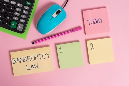 Word writing text Bankruptcy Law. Business photo showcasing Designed to help creditor in getting the asset of the debtor Blank notepads wire mouse calculator sheet marker pen colored background