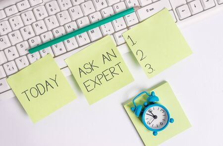 Writing note showing Ask An Expert. Business concept for consult someone who has skill about something or knowledgeable
