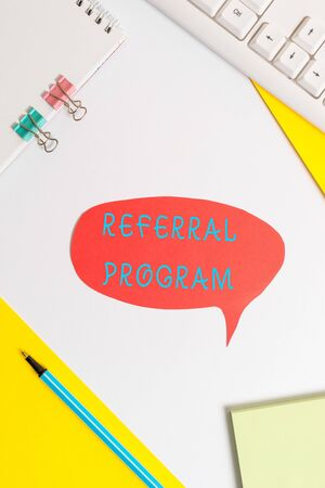 Handwriting text writing Referral Program. Conceptual photo employees are rewarded for introducing suitable recruits 스톡 콘텐츠