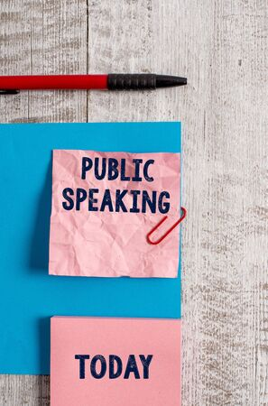 Word writing text Public Speaking. Business photo showcasing talking showing stage in subject Conference Presentation Wrinkle paper and cardboard plus stationary placed above wooden background Banque d'images