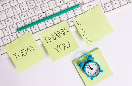 Writing note showing Thank You. Business concept for a polite expression used when acknowledging a gift or service