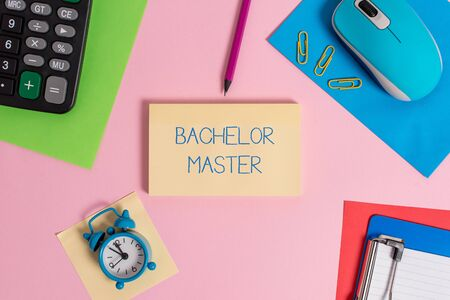 Conceptual hand writing showing Bachelor Master. Concept meaning An advanced degree completed after bachelor  degree Mouse calculator sheets marker clipboard clock color background