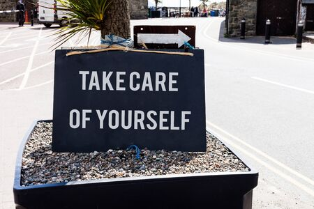Conceptual hand writing showing Take Care Of Yourself. Concept meaning a polite way of ending a gettogether or conversation
