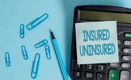 Writing note showing Insured Uninsured. Business concept for Company selling insurance Checklist to choose from Electronic calculator blank sticky note clips marker colored background