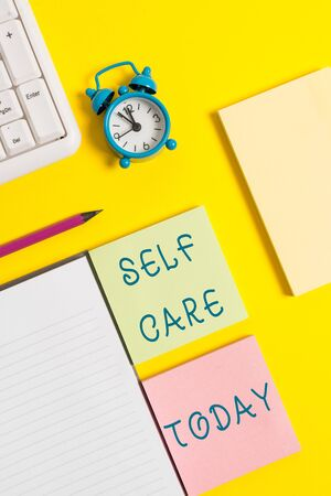 Text sign showing Self Care. Business photo text the practice of taking action to improve one s is own health Stock fotó