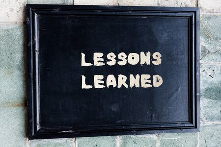 Writing note showing Lessons Learned. Business concept for the knowledge or understanding gained by experience