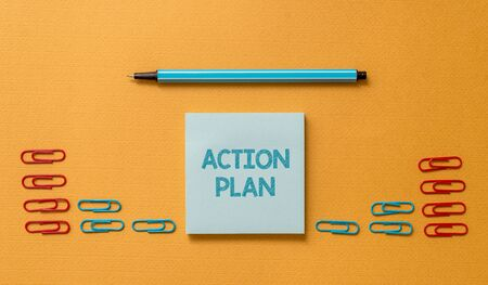 Handwriting text Action Plan. Conceptual photo proposed strategy or course of actions for certain time Colored blank sticky note clips binders gathered pen trendy cool background