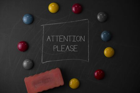 Text sign showing Attention Please. Business photo text Asking showing to focus their mental powers on you Round Flat shape stones with one eraser stick to old chalk black board