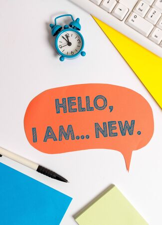 Writing note showing Hello I Am New. Business concept for introducing oneself in a group as fresh worker or student