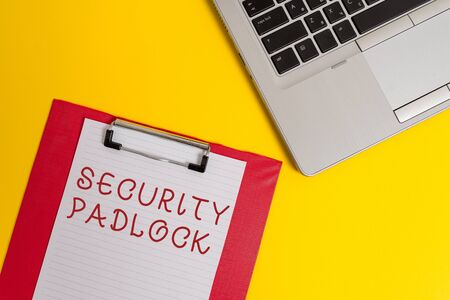 Conceptual hand writing showing Security Padlock. Concept meaning hardened steel body and double locking shackle of extra one Part view metallic laptop clipboard paper sheet colored background