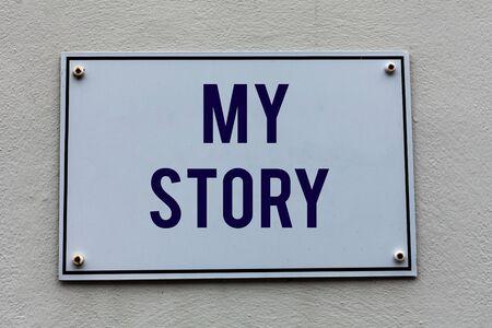 La main conceptuel montrant mon histoire. Concept signifiant les choses ou les situations qui sont arrivées à quelqu'un dans la vie