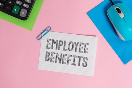 Conceptual hand writing showing Employee Benefits. Concept meaning Indirect and non cash compensation paid to an employee Wire electronic mouse calculator paper colored background 写真素材 - 127262771