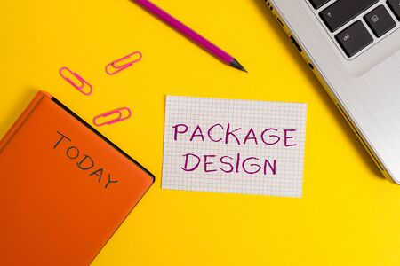 Handwriting text writing Package Design. Conceptual photo Strategy in creating unique product wrapping or container Laptop clips pencil paper sheet hard cover notebook colored background