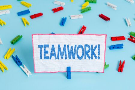 Conceptual hand writing showing Teamwork. Concept meaning combined action of group especially when effective and efficient