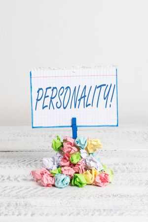 Word writing text Personality. Business photo showcasing combination characteristics that form individuals character