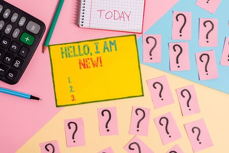 Word writing text Hello I Am New. Business photo showcasing used as greeting or to begin telephone conversation Mathematics stuff and writing equipment above pastel colours background Stock Photo