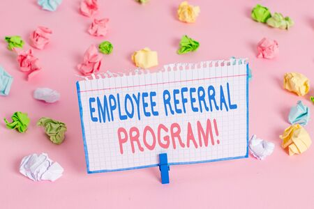 Text sign showing Employee Referral Program. Business photo showcasing internal recruitment method employed by organizations