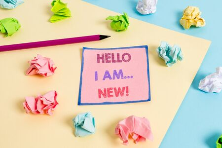 Text sign showing Hello I Am New. Business photo text used as greeting or to begin telephone conversation