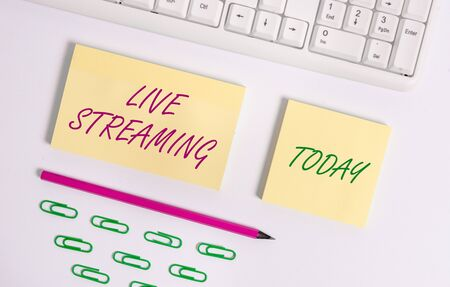Writing note showing Live Streaming. Business concept for Transmit live video coverage of an event over the Internet Flat lay above blank copy space sticky notes with business concept