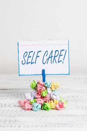 Word writing text Self Care. Business photo showcasing practice of taking action to preserve or improve ones own health