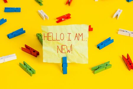 Conceptual hand writing showing Hello I Am New. Concept meaning used as greeting or to begin telephone conversation