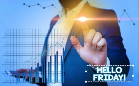 Text sign showing Hello Friday. Business photo showcasing you say this for wishing and hoping another good lovely week