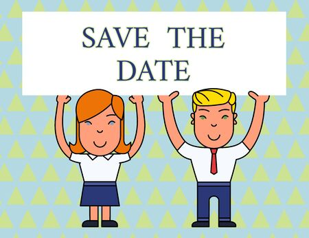 Text sign showing Save The Date . Business photo text asking someone to remember specific day or time Two Smiling People Holding Big Blank Poster Board Overhead with Both Hands